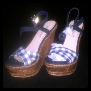 Peggy navy wedges- NEW IN BOX.